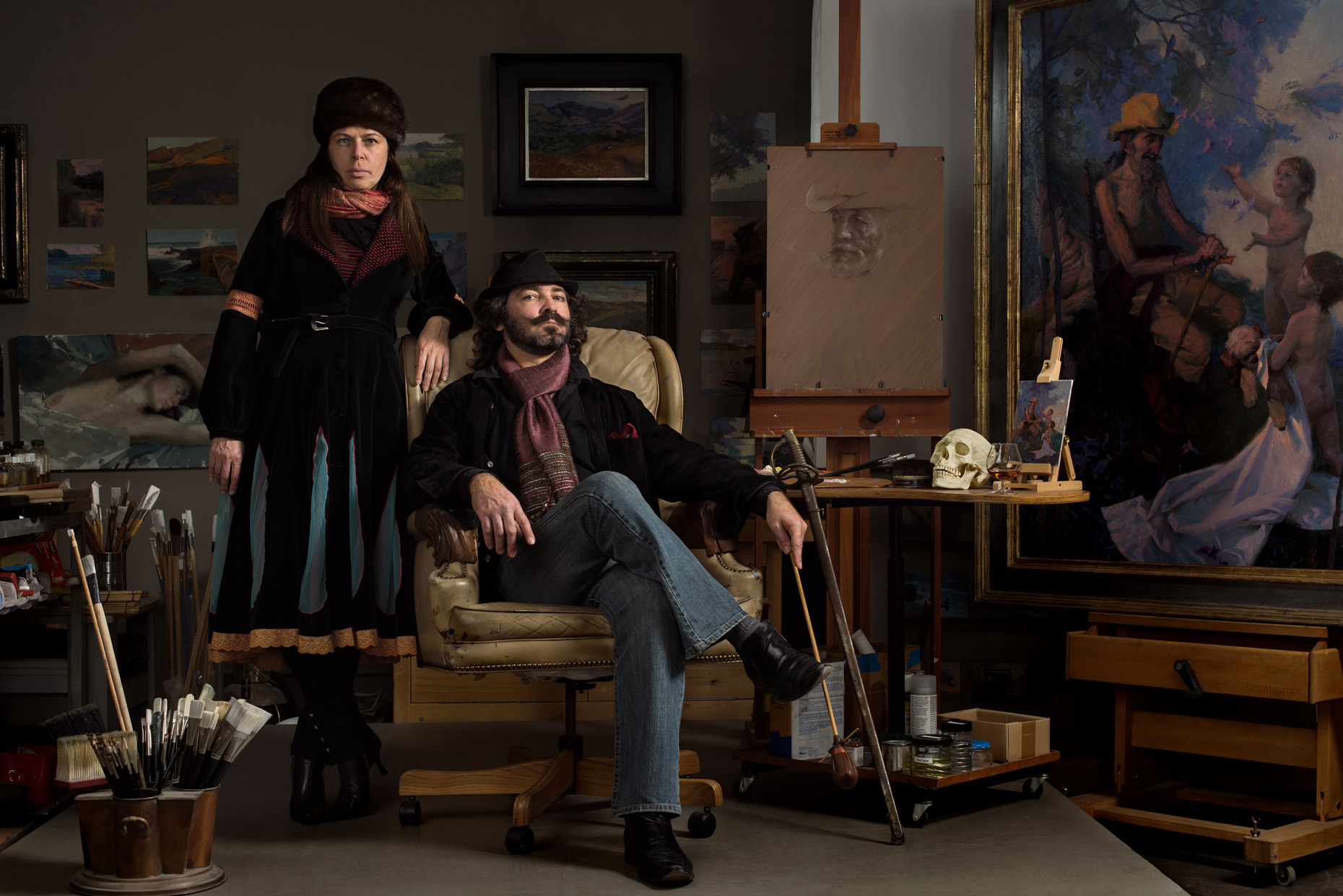 Artist-Alexey-Steele-and-Wife-Olga-in-His-Studio
