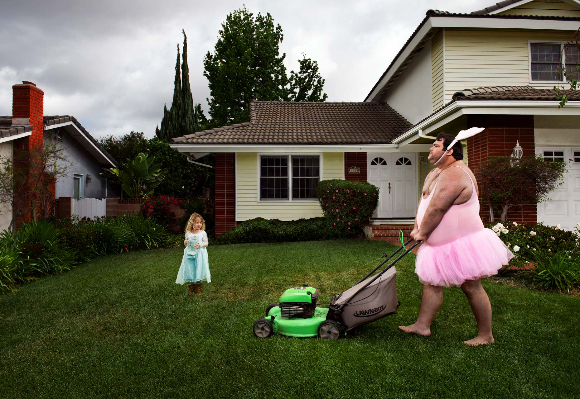 Bunny-Ballerina-Man-Mows-Lawn-With-Princess-Daughter